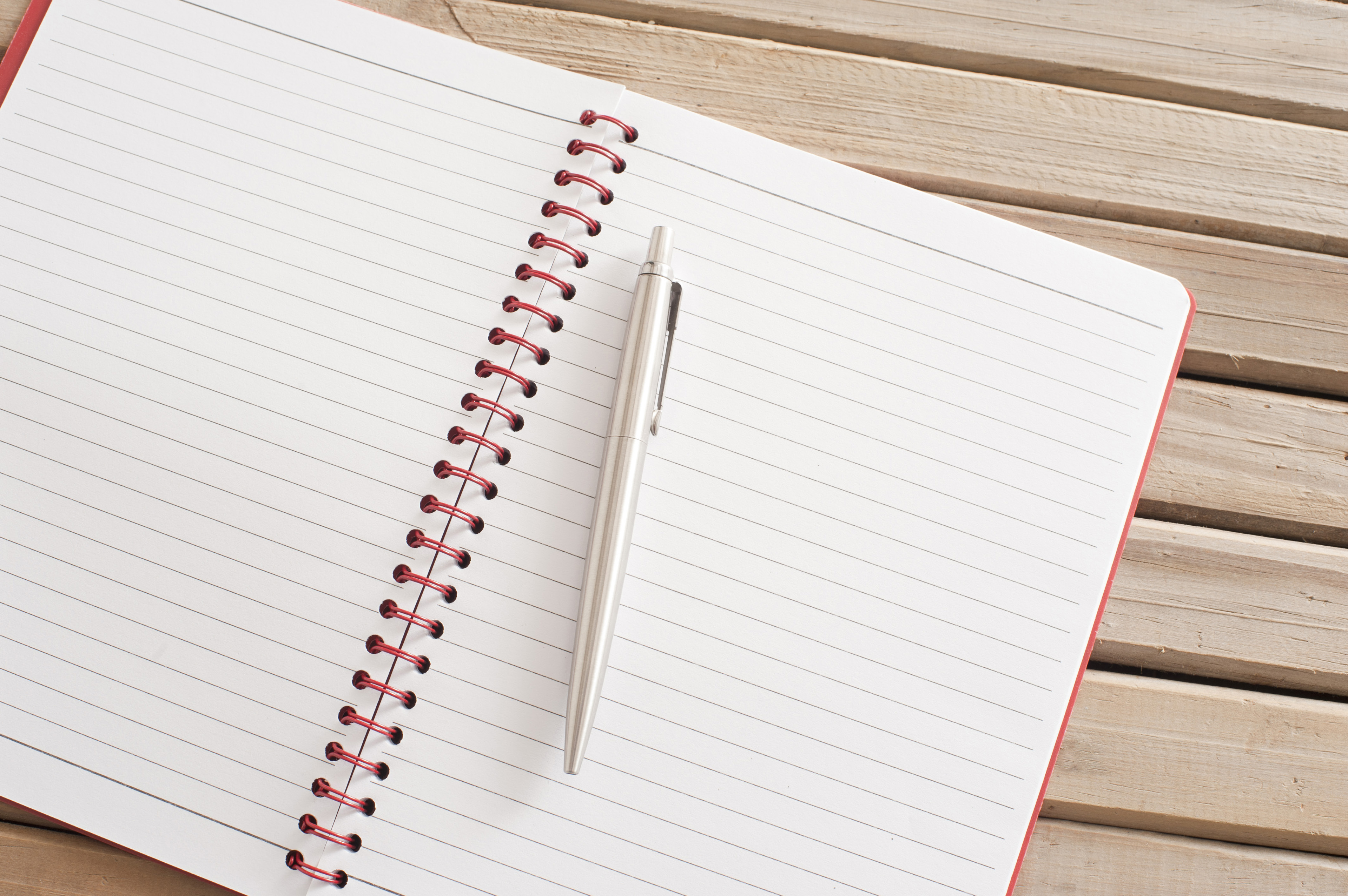 Open Blank Notebook with Ballpoint Pen on Top
